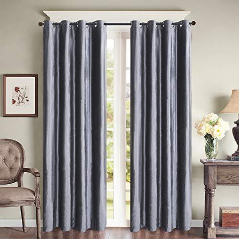 Roslynwood Blackout Velvet Luxury Grey Thermal Insulated Curtain - Antique Grommet Top for Bedroom & Living Room, (2 Panels, 52 by 84 Inch)