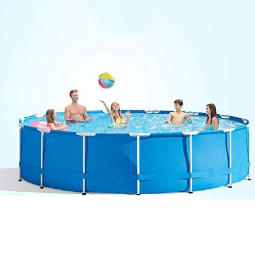 Round Frame Swimming Pool, Thickened Oversized Adult Tube Rack Paddling Pool, with Filter Water Pump, Pool Cloth and Hand-Held Escalator, 457×84CM