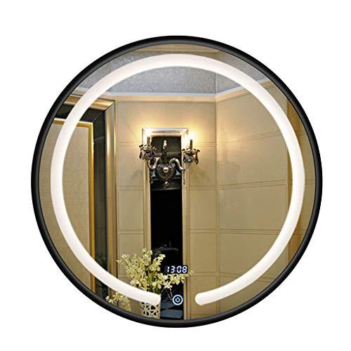 Rounded LED Bathroom Backlight Wall Mirror Vanity-Mounted Black Wooden frame Makeup Mirror 5mm Touch Screen Time Display Bedroom (3 Size)
