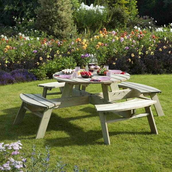 Rowlinson Seater Round Pressure Treated Wood Picnic Table High - 8 seater round picnic table