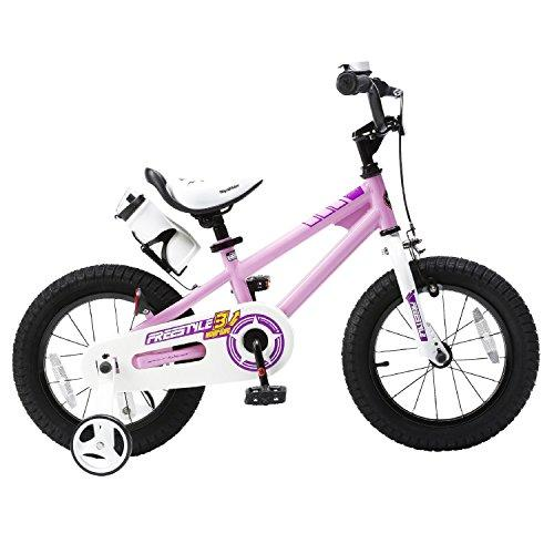 Royal Baby BMX Freestyle Kids Bike, Boy's Bikes and Girl's Bikes with training wheels, Gifts for children, 14 inch wheels, Pink