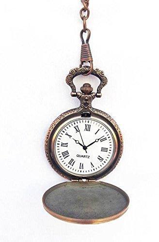 Royal Vintage Style pocket watch with 12 inches matching chain, spring actuated cover