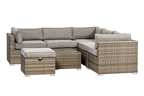 Royalcraft DALCORLOUFSGRY Dallas Corner Lounging Set with Footrest and Coffee Table, Grey, 100 x 100 x 100 cm