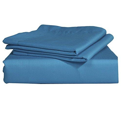 RoyalLinens EU Double 500TC 100% Egyptian Cotton Turquoise Blue Solid Elegant Finish 3PCs Flat Sheet Solid