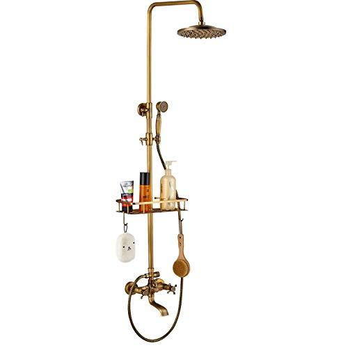 Rozin Shower Tap Bathroom Wall Mount Rainfall Shower Head Antique Brass Hand Spray Tub Filler Double Handles with Storage Shelf Cold and Hot Water