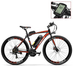 RS600 700C Pedal Assist Electric Bike, 36V 20Ah Battery, 300W Motor, High Carbon Steel Airfoil-shaped Frame,Disc Brake, Endurance Up To 70km,20-35km/h, Road Bicycle (Red-LCD, Plus 1 Spare Battery)