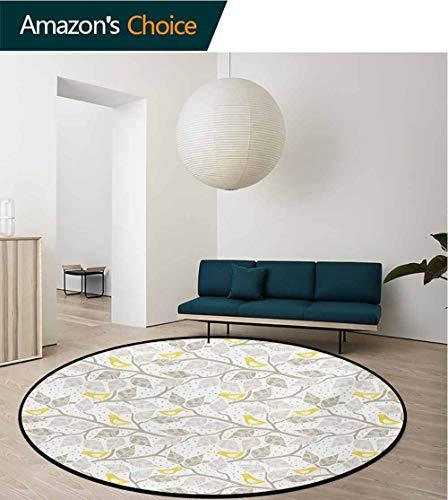 RUGSMAT Grey And Yellow Warm Soft Cotton Plush Baby Rugs,Abstract Tree Branches With Leaves Birds And Dots Spring Nature Kids Teepee Tent Game Play House Round,Diameter-71 Inch