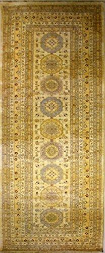 RugsTC 6'0 x 19'5 Chobi Ziegler Area Rug made using Vegetable dyes with Wool Pile | 100% Original Hand-Knotted in White,Gold,Grey colors | a 6x18 Runner Double Knot Rug