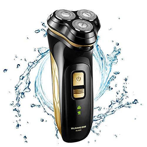 Runwe Mens Electric Razor with Pop-up Trimmer Waterproof 3D Blade Rechargeable Rotary Shaver for Man (Gold)