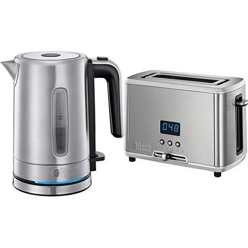Russell Hobbs Compact Home Small Electric Kettle, 0.85 Litre Cordless Stainless Steel Jug Kettle, Silver with Compact Home Small Toaster, One Slice with Digital Countdown Display, Stainless Steel
