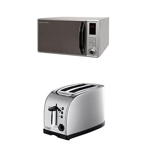 Russell Hobbs RHM2362S 23L Digital 800w Solo Microwave Silver & Russell Hobbs Texas 2-Slice Toaster 18096 - Stainless Steel and Silver