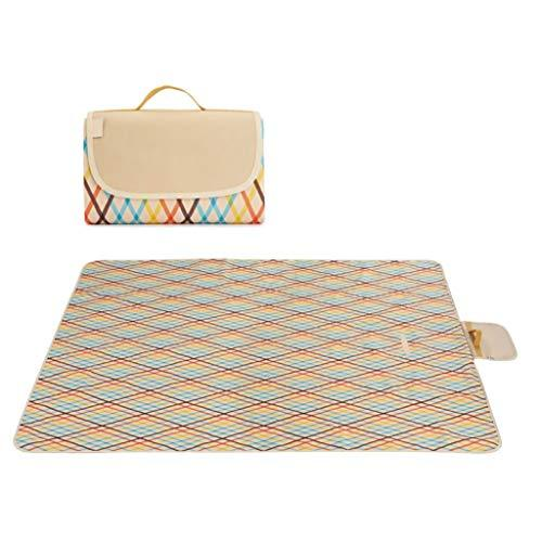 Rycd 195 * 200cm Picnic Blanket Tent Carpet with Carrying Handle Strap and Waterproof Backing Portable Foldable Outdoor Rug Garden Beach Mat For Hiking Travel Camping Park (color : F)