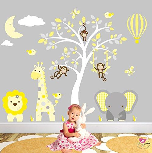 Safari Wall Stickers featuring Giraffe, Elephant, Lion and Monkeys around a White Tree Mural, Sleeping Moon & Hot Air Balloon. Yellow and Grey Nursery Wall Decals