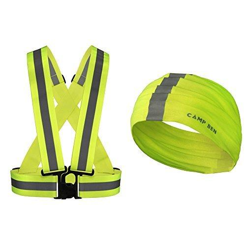 Safety Vest High Visibility Reflective Gear | Reflective Harness includes Bonus Neon Reflecting Bandana | Running, Walking the Dog, Hiking, Hunting and Cycling | Orange or Green by CAMP BEN