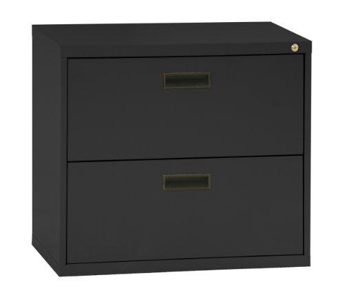 "Sandusky 400 Series Black Steel Lateral File Cabinet with Plastic Handle, 30"" Width x 27-1/4"" Height x 18"" Depth, 2 Drawers"