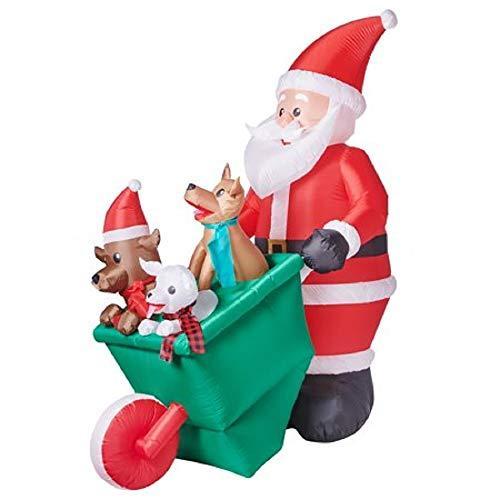 Santa's Wheelbarrow O' Pups Christmas Holiday Yard Decoration Inflatable, 7 Feet Tall
