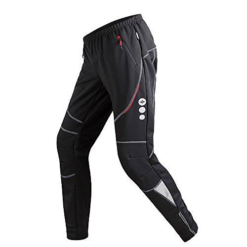 Santic Cycling Trousers Sports Pants Mens Bottoms Windproof Zip Pockets Drawstring Black Running Bike Outdoor C04004