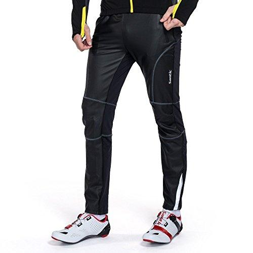 Santic Cycling Trousers Sports Pants Mens Bottoms Windproof Zip Pockets Drawstring Black Running Bike Outdoor KP6201