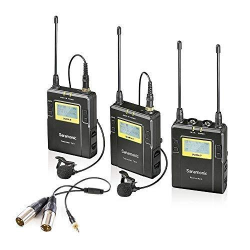 Saramonic UwMic9 RX9 + TX9 + TX9, 96-Channel Digital UHF Wireless Lavalier Microphone System Two Transmitters and One Receiver for DSLR & Camcorder Video