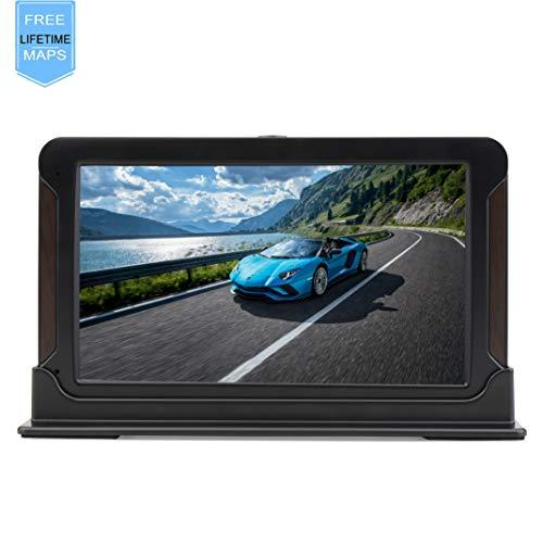 SAT NAV Car GPS Navigation System with 7-inch HD Touchscreen+Real Voice Inbuilt 8GB&256MB Pre-installed UK and EU Latest Maps for Free Lifetime Updates