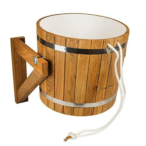 Sauna Shower Bucket/Pail 20L Oak Wood with Plastic Insert and Automatic Water Fill Valve