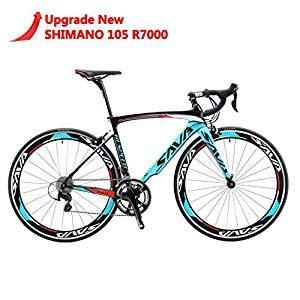SAVA 700C Road Bike T800 Carbon Fiber Frame / Fork / Seat Post with SHIMANO 105 5800 22 Speed Derailleur System and KENDA 23C Tire Ultra-light 18.96lb (48cm/Blue)