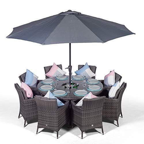 Savannah 8 Seater Grey Rattan Dining Table & Chairs with Ice Bucket Drinks Cooler | Outdoor Poly Rattan Garden Dining Furniture Set with Parasol & Cover