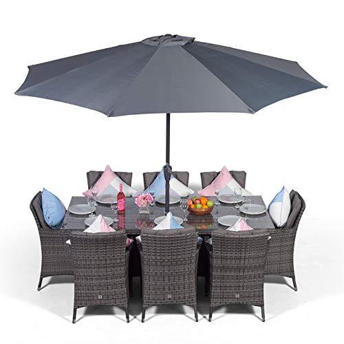 Savannah Rattan Dining Set | Large Rectangle 8 Seater Grey Rattan Dining Set | Outdoor Poly Rattan Garden Table & Chairs Set | Patio Conservatory Wicker Garden Dining Furniture with Parasol & Cover