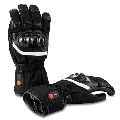 Savior Motorcycle Heated Gloves for Men and Women, Palm Leather Gloves for Winter Skiing,Skating, Running, Walking, 7.4V 2200 Mah Electric Rechargeable Batteries Gloves, Works Up To 2.5-5 Hours