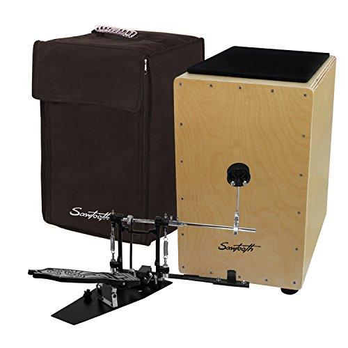 Sawtooth Birch Wood Cajon with Padded Seat Cushion, Carry Bag, and Direct Drive Cajon Pedal