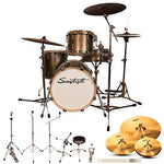 "Sawtooth ST-COM-4PC-18-C-ZBT Command Series 4-Piece Set with 18"" Bass Drum, ChromaCast Hardware & Zildjian ZBT Cymbals, Champagne"