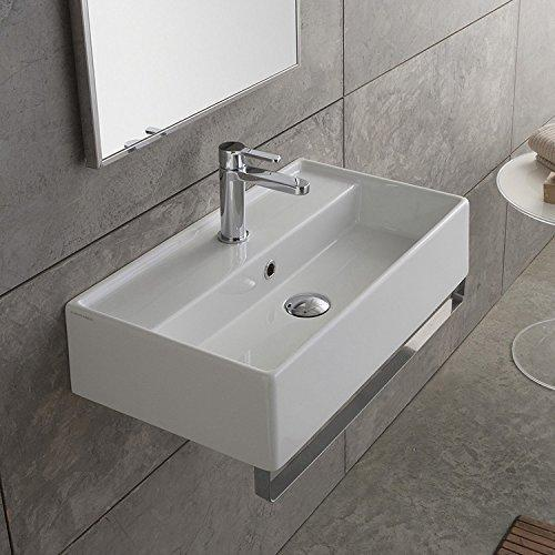Scarabeo 5003-TB-No Hole Teorema Rectangular Wall Mounted Ceramic Sink with Polished Chrome Towel Bar, White