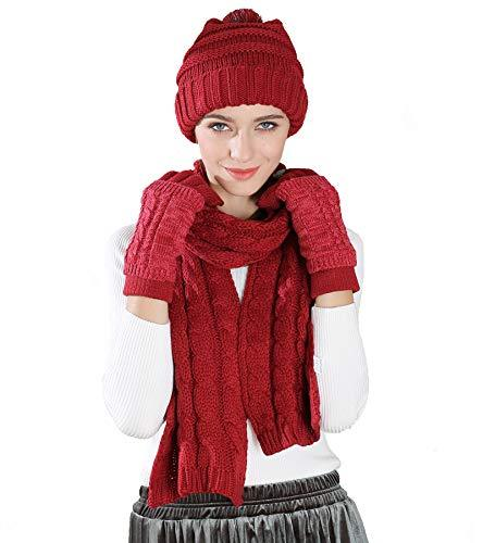 Scarf Hat Glove Set-Soft Stretch Warm Thick Cable Knit Hat Cap Beanie Mitten Scarf Touchscreen Gloves Fashion 3 in 1 Winter Cold Gift Set (Wine Red)