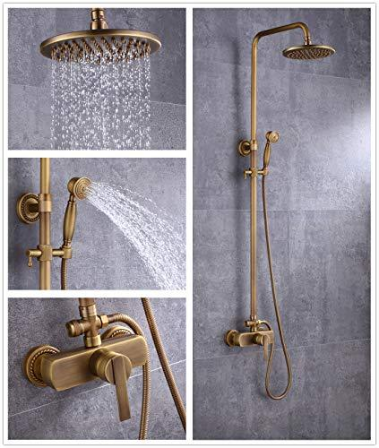 Sccot Shower Faucet Set, Vintage Luxury Brass Shower System Include Rainfall Shower Head, Handheld Shower and Tub Spout Faucet, Rain Shower Mixer Set Antique Brass Finished