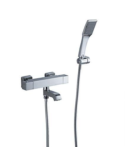 Sccot Square Thermostatic Shower Mixer, Modern Wall Mounted Bathroom Shower System Mixer Chrome Exposed Bath Thermostatic Bar Shower Mixer Faucet Set