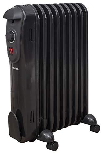 Schallen 2000W 9 Fin Portable Electric Slim Oil Filled Radiator Heater with Adjustable Temperature Thermostat, 3 Heat Settings & Safety Cut Off - 2Kw BLACK