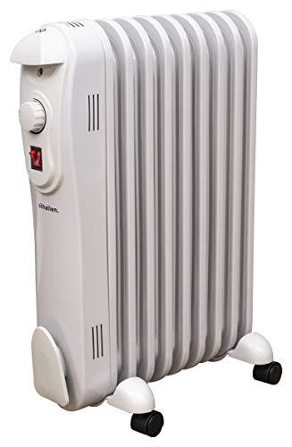 Schallen 2000W 9 Fin Portable Electric Slim Oil Filled Radiator Heater with Adjustable Temperature Thermostat, 3 Heat Settings & Safety Cut Off - 2Kw White