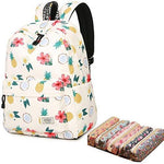 School Bookbag for Girls, Cute Pineapple Water Resistant Laptop Backpack College Bags Women Travel Daypack + 5 Pieces Canvas Floral Pencil Case