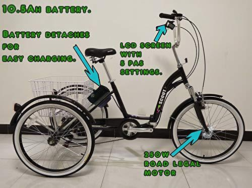 Scout Electric tricycle, folding frame, aluminium, 6 gears, electric trike, 250w motor (Black)