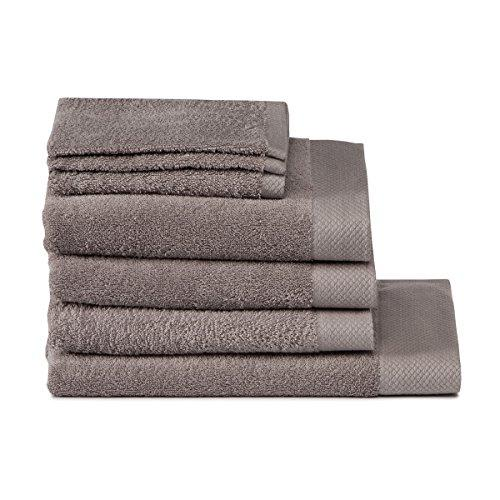 Seahorse Bath Linen Set, Cement Grey, 7-Piece