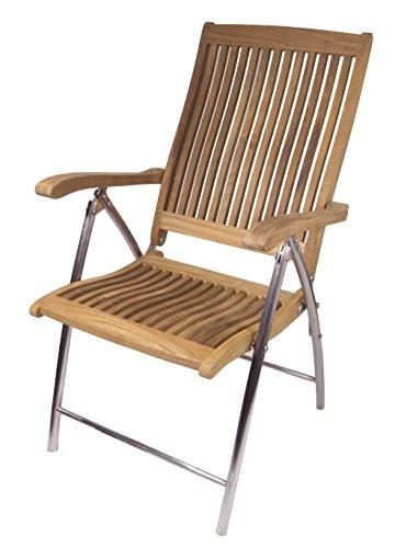 SEATEAK Windrift Folding 6-Position Deck Armchair with Stainless Steel Legs