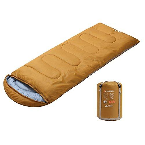 Semoo Waterproof 3 Season Camping Envelope Sleeping Bag for Adults & Children,220 x 83 cm,1.8 kg, with Compression Bag