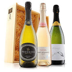 Sendagift by Virgin Wines Cava, Prosecco, Pink Italian Fizz Wine Gift In Wooden Gift Box