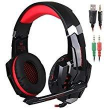 SENHAI KOTION EACH G9000 3.5mm Game Gaming Headphone Headset Earphone Headband with Microphone LED Light for Laptop Tablet Mobile Phones PS4 Black and Red
