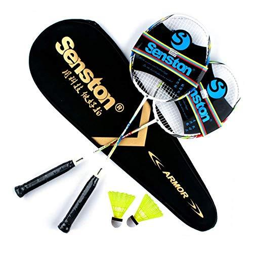 Senston 2 Pieces Carbon Alloy Badminton Set, lightweight 100% Graphite Shaft Badminton Racket, Various Sets Available, Including Premium Badminton Bag, Racquet grip, Badminton shuttlecock