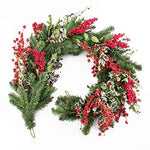 Set 2 x Artificial Christmas Garland with holly berries and English holly, 6 ft / 180 cm - 2 pieces Plastic Christmas Garland / Decoration Arrangement - artplants