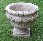 Set of 2 Old World Scroll Design Cast Stone Concrete Outdoor Garden Urn Planters