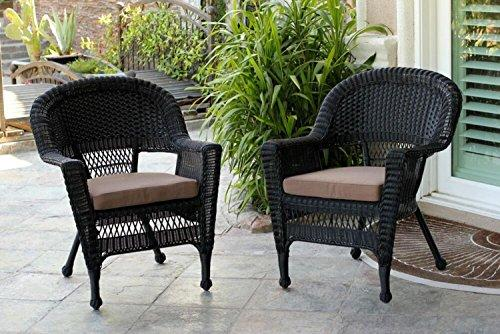 Set of 4 Black Resin Wicker Outdoor Patio Garden Chairs with Brown Cushions - 36""