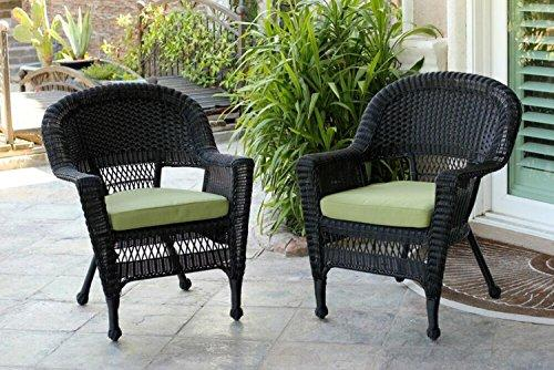 Set of 4 Black Resin Wicker Outdoor Patio Garden Chairs with Green Cushions - 36""