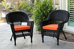 Set of 4 Black Resin Wicker Outdoor Patio Garden Chairs with Orange Cushions - 36""